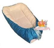 """Кокон-гнездышко для новорожденного стандарт"""" Голубой атлас"""""""