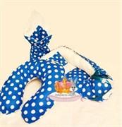 """Кокон-гнездышко для новорожденного комплект """"Синий  горох""""+ПОДАРОК."""