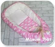 """Кокон-гнездышко для новорожденного"""" Розовые облака""""+ПОДАРОК!"""