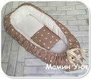 """Кокон-гнездышко для новорожденного """"Кофейные звезды""""+ПОДАРОК!"""