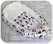 """Кокон-гнездышко для новорожденного """"Кошки""""+ПОДАРОК!"""