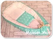"""Кокон-гнездышко для новорожденного """"Ментоловые звезды""""+ПОДАРОК!"""